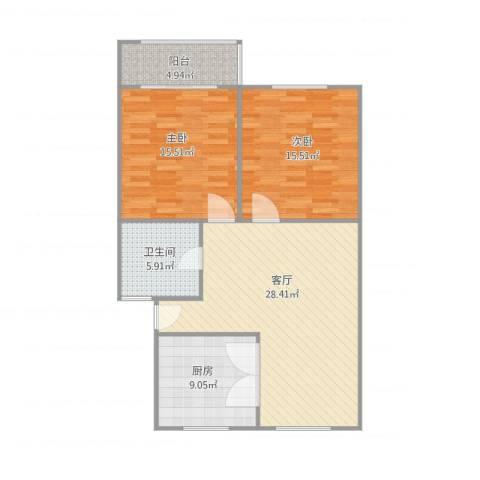 共青小区2室1厅1卫1厨106.00㎡户型图