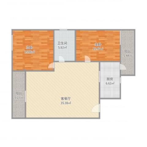 丽日豪庭2室1厅1卫1厨115.00㎡户型图