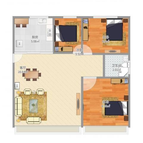 由由新邸29号3室1厅1卫1厨62.00㎡户型图