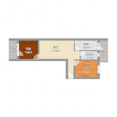 富国里小区2室1厅1卫1厨71.00㎡户型图
