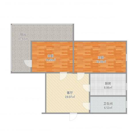 庄伙小区2室1厅1卫1厨113.00㎡户型图