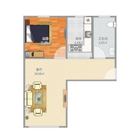 昌五小区1室1厅1卫1厨69.00㎡户型图