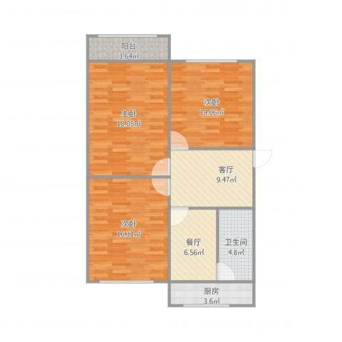 广电宿舍3室2厅1卫1厨103.00㎡户型图