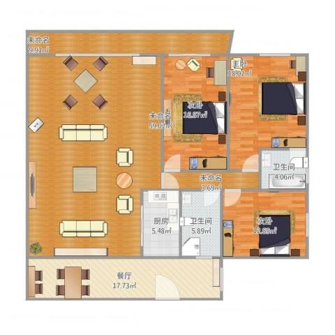 华侨海景城二期3室1厅2卫1厨204.00㎡户型图