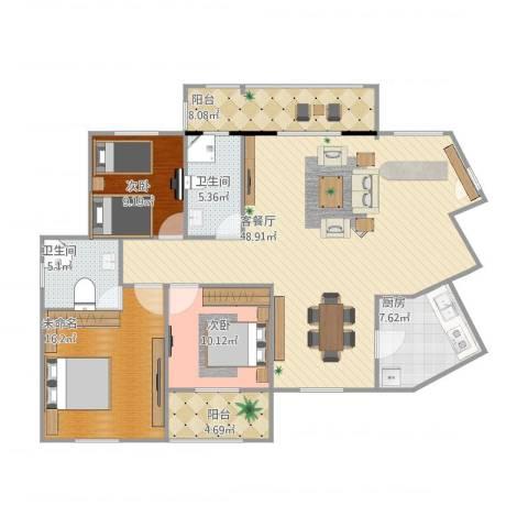 宜都九州丽景苑3室2厅2卫1厨154.00㎡户型图