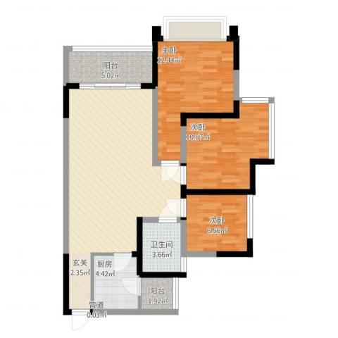 中港城3室1厅1卫1厨109.00㎡户型图