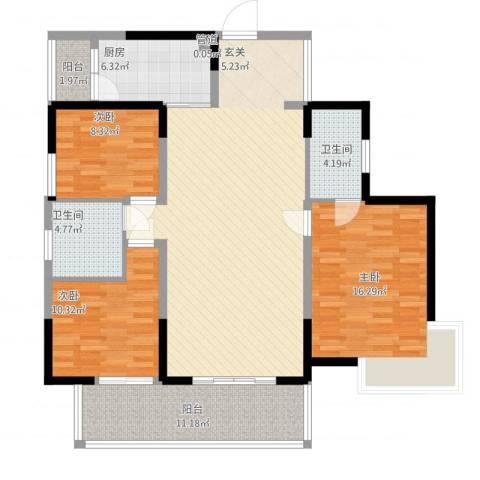 中港城3室1厅2卫1厨147.00㎡户型图