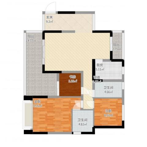 中港城3室1厅2卫1厨143.00㎡户型图