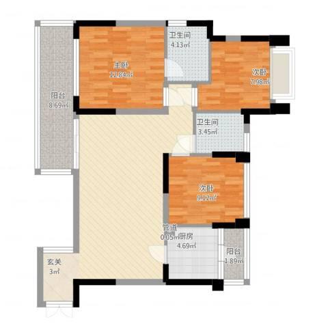 中港城3室1厅2卫1厨122.00㎡户型图