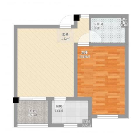 教授花园三期新里程1室1厅1卫1厨64.00㎡户型图