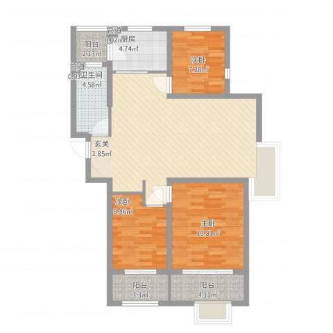 浮来春公馆3室1厅1卫1厨117.00㎡户型图