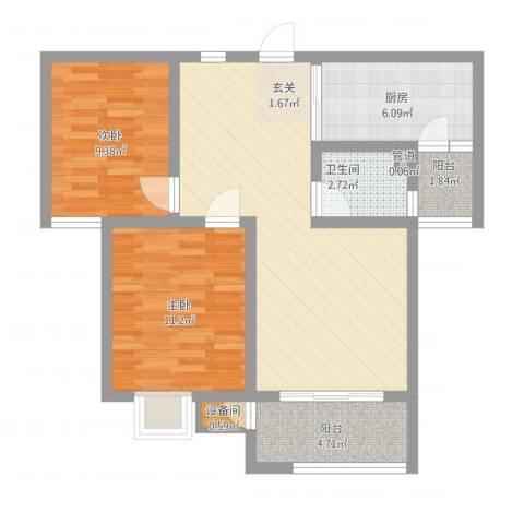 教授花园三期新里程2室1厅1卫1厨88.00㎡户型图