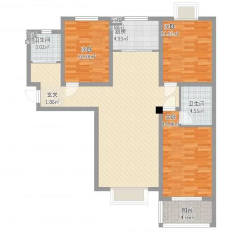 教授花园三期新里程3室1厅2卫1厨130.00㎡户型图