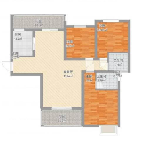 林隐天下3室1厅2卫1厨133.00㎡户型图