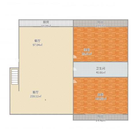 绿色新苑2室1厅1卫1厨703.00㎡户型图