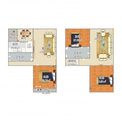 阳光舜城3室3厅2卫1厨645.99㎡户型图