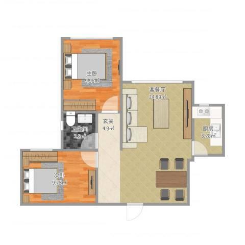 三和翠雍星城2室1厅1卫1厨54.09㎡户型图