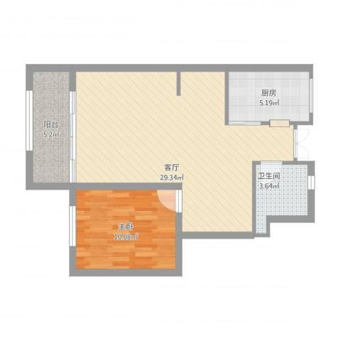 华润城立方1室1厅1卫1厨76.00㎡户型图