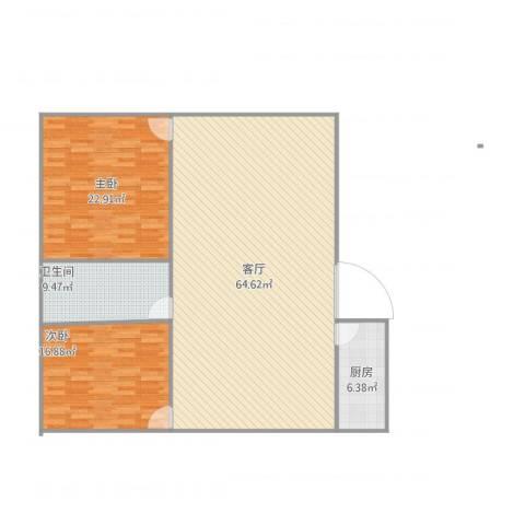 祁连四村2室1厅1卫1厨157.00㎡户型图