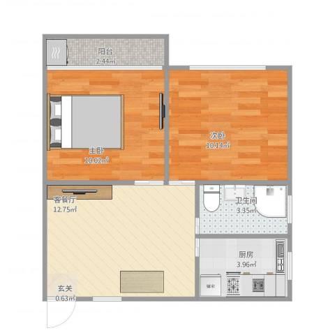 龙柏三村2室1厅1卫1厨58.00㎡户型图