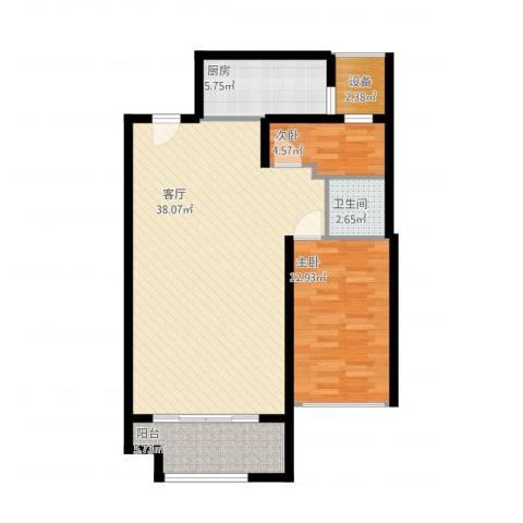 万达广场2室1厅2卫1厨102.00㎡户型图