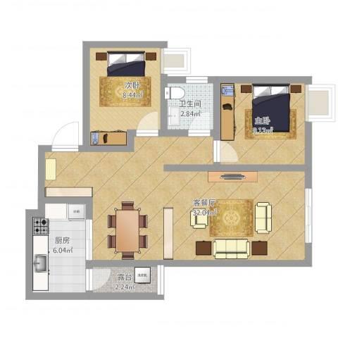 寰宇世家2室1厅1卫1厨88.00㎡户型图