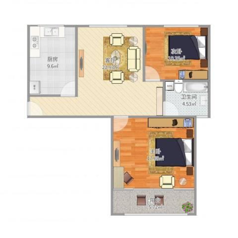 世博家园251弄2室1厅1卫1厨95.00㎡户型图