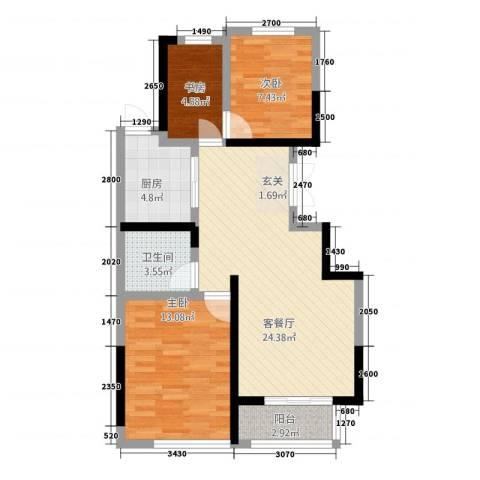 塞纳蓝湾3室1厅1卫1厨89.00㎡户型图