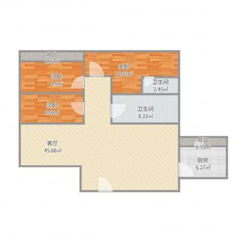 穗园小区3室1厅2卫1厨129.00㎡户型图
