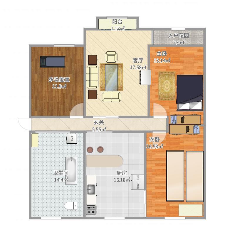 混合风120三室两厅一卫