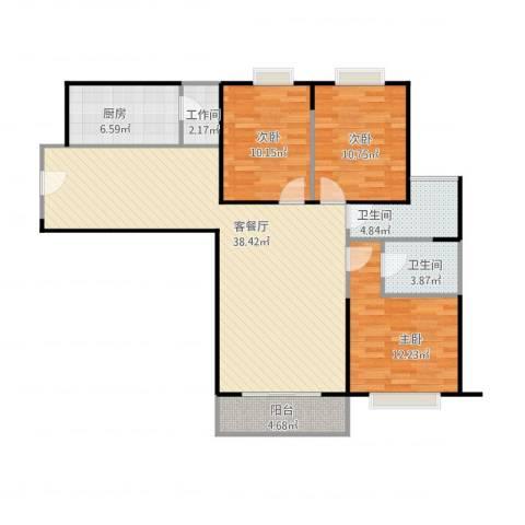 大华清水湾花园3室1厅2卫1厨126.00㎡户型图