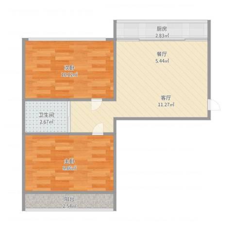 翠竹小区2室1厅1卫1厨61.00㎡户型图
