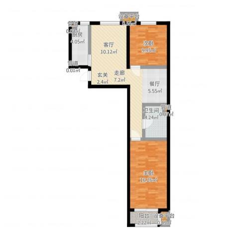 中国铁建・环保嘉苑2室1厅1卫1厨94.00㎡户型图