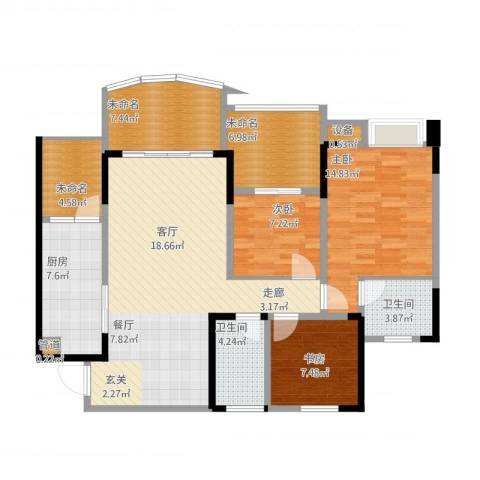 保利・康桥3室1厅2卫1厨137.00㎡户型图
