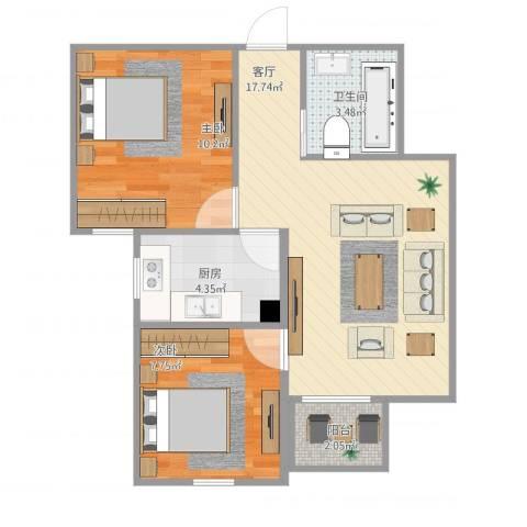 阳光星苑2室1厅1卫1厨63.00㎡户型图