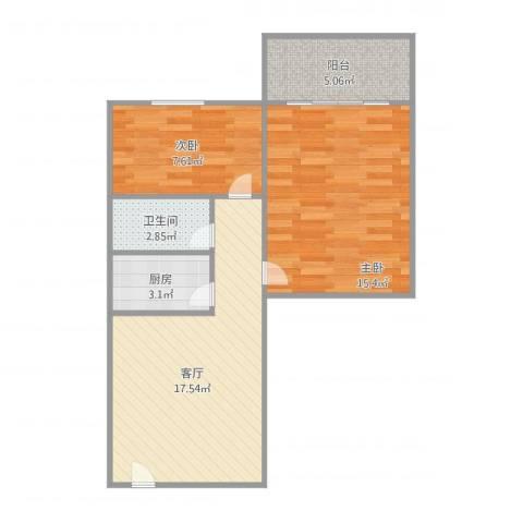 天虹花园2室1厅1卫1厨70.00㎡户型图
