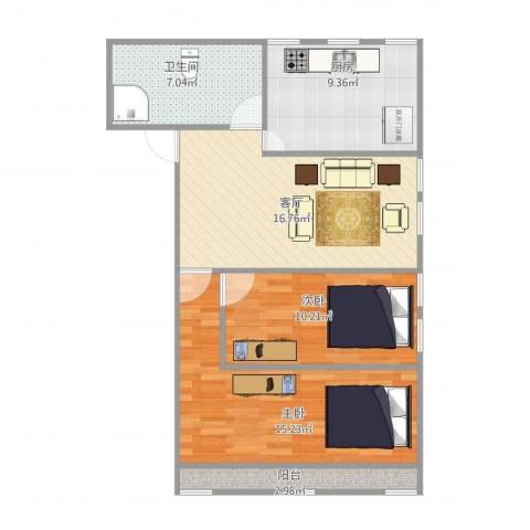 德裕家园西区2号楼1单元1202-----67平2室1厅1卫1厨84.00㎡户型图
