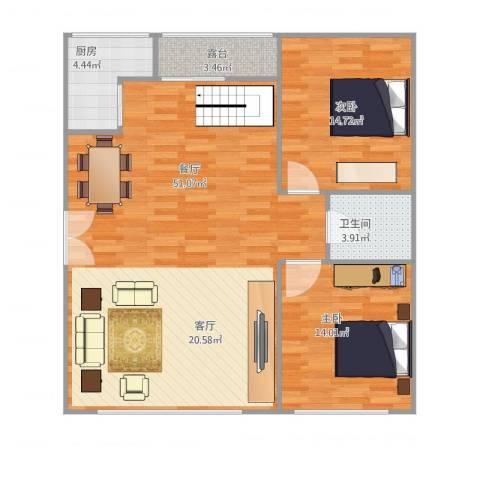 汇银奥林匹克花园2室1厅1卫1厨121.00㎡户型图