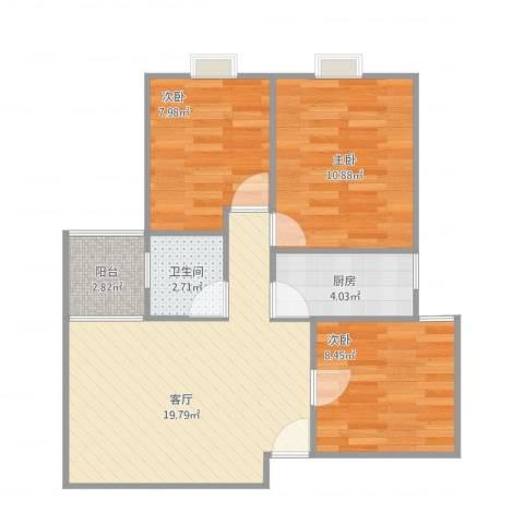 南悦花苑3室1厅1卫1厨62.00㎡户型图