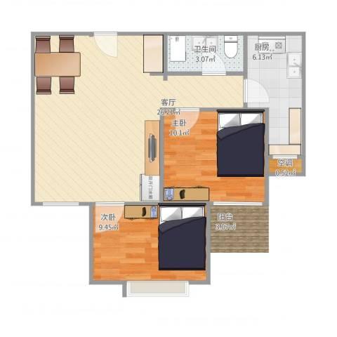 新世纪阳光花园2室1厅2卫1厨75.00㎡户型图