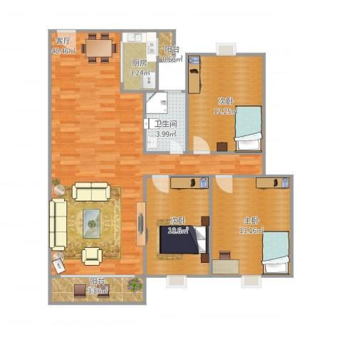 盈翠华苑3室1厅1卫1厨119.00㎡户型图