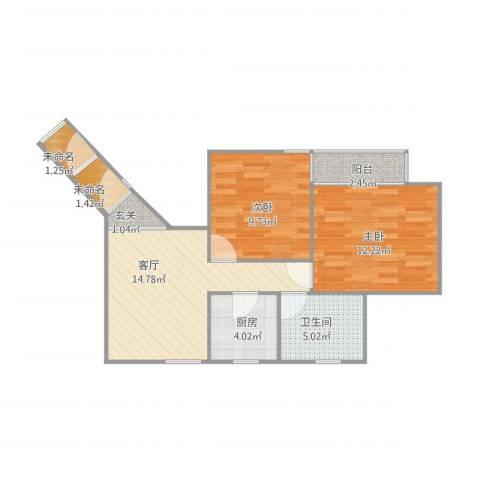 德州六村2室1厅1卫1厨70.00㎡户型图