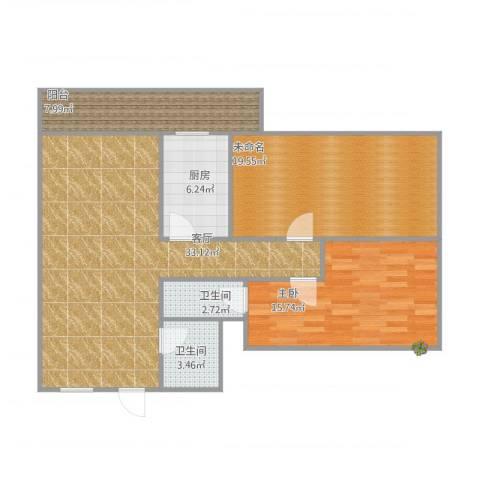 侨爱苑1室1厅2卫1厨119.00㎡户型图