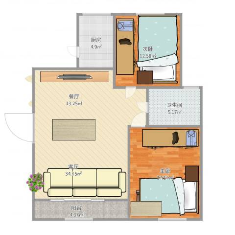 莲鼎苑2室1厅1卫1厨105.00㎡户型图