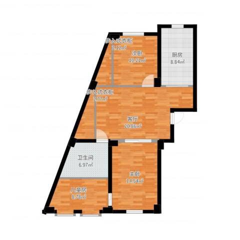 实华・新兴佳园3室1厅1卫1厨108.00㎡户型图