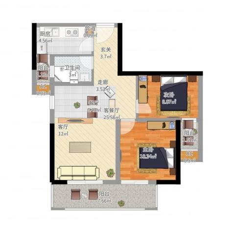 都和广场2室1厅1卫1厨91.00㎡户型图