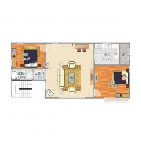 富豪花园2室1厅2卫1厨91.00㎡户型图