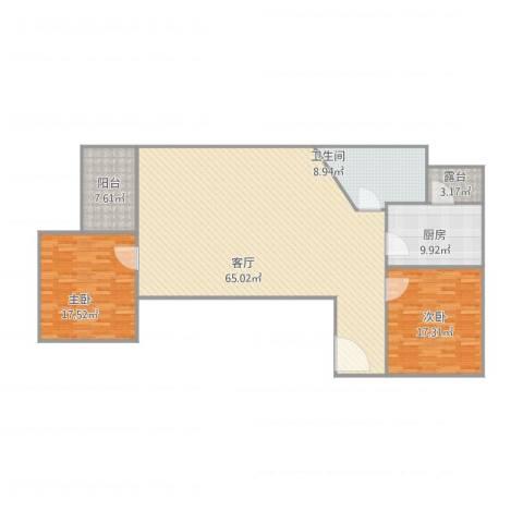 风度国际名苑2室1厅1卫1厨171.00㎡户型图