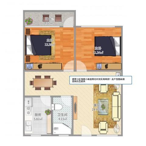 德荣小区电梯小高层两房户型图2室1厅1卫1厨83.00㎡户型图