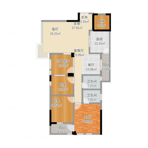 江南世家1室1厅2卫1厨275.00㎡户型图
